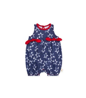 Painted Stars Organic Baby Bubble Romper Blue Smoke 24 Months