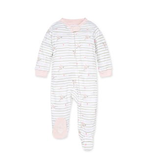 Happy Hummingbird Organic Baby Zip Front Loose Fit Footed Pajamas