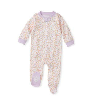 Petal Rain Organic Baby Zip Front Loose Fit Footed Pajamas