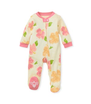 Hello Hibiscus Organic Baby Zip Front Loose Fit Footed Pajamas