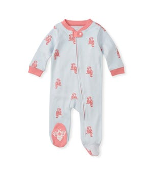Pretty Parrot Organic Baby Zip Front Loose Fit Footed Pajamas