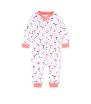 Little Flamingos Organic Baby Zip Front Loose Fit Footless Pajamas Strawberry Lemonade 0-3 Months