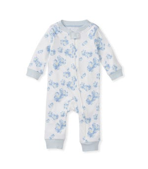 Delicate Flower Organic Baby Zip Front Loose Fit Footless Pajamas