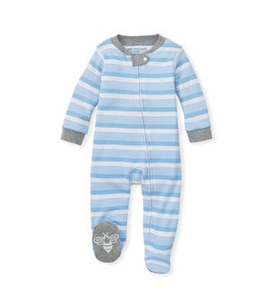 Long Road Stripe Organic Baby Zip Front Loose Fit Footed Pajamas