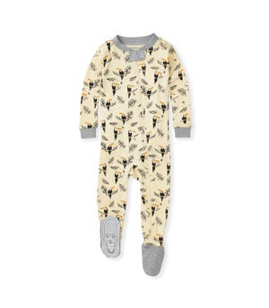 Toucan Jungle Organic Baby Zip Front Snug Fit Footed Pajamas