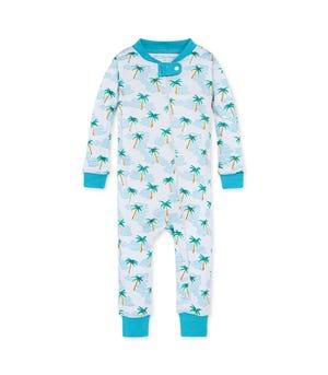 Palm Beach Organic Baby Zip Front Snug Fit Footless Pajama Ocean Tide 24 Months
