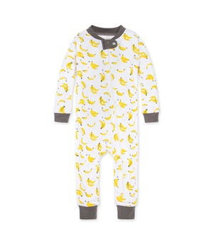 Going Bananas Organic Baby Zip Front Snug Fit Pajama Charcoal 24 Months