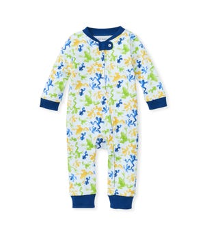 Ribbit Ribbit! Organic Baby Zip Front Loose Fit Footless Frog Pajamas