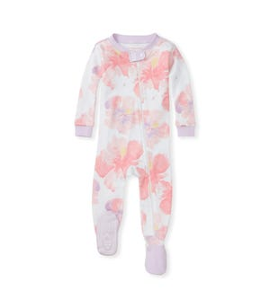 Aloha Hibiscus Organic Baby Zip Front Snug Fit Footed Pajamas