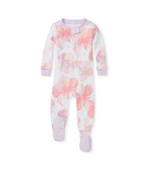 Aloha Hibiscus Organic Baby Zip Front Snug Fit Footed Pajamas