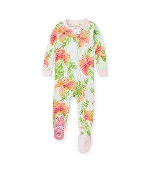 Lily Oasis Organic Baby Zip Front Snug Fit Footed Pajamas Dawn 12 Months