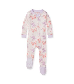Butterfly Buddies Organic Baby Zip Front Snug Fit Footed Pajamas