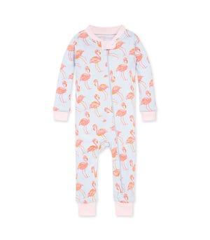 Fancy Flamingo Organic Baby Zip Front Snug Fit Footless Pajama Dawn 24 Months