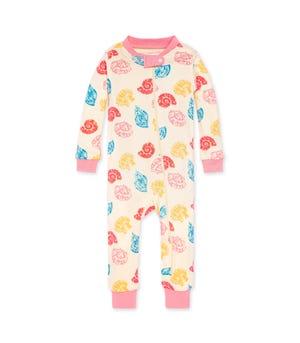 Watercolor Seashells Organic Baby Zip Front Snug Fit Footless Pajama Strawberry Lemonade 24 Months