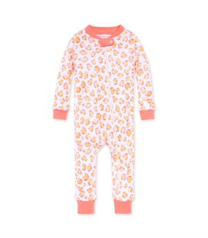 Colorful Cheetah Organic Baby Zip Front Snug Fit Footless Pajama Shrimp 24 Months
