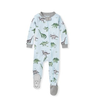 Happy Herbivores Organic Baby Zip Front Snug Fit Dinosaur Footed Pajamas Heather Grey 12 Months