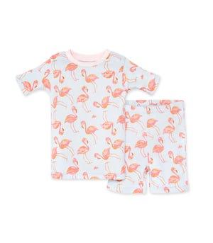 Fancy Flamingo Organic Baby Snug Fit Pajama Short Set Dawn 12 Months