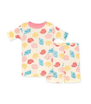 Watercolor Seashells Organic Baby Snug Fit Pajama Short Set Strawberry Lemonade 12 Months