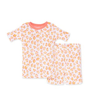 Colorful Cheetah Organic Baby Snug Fit Pajama Short Set Shrimp 12 Months