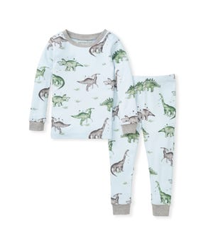 Happy Herbivores Snug Fit Organic Baby Dinosaur Pajamas Heather Grey 12 Months