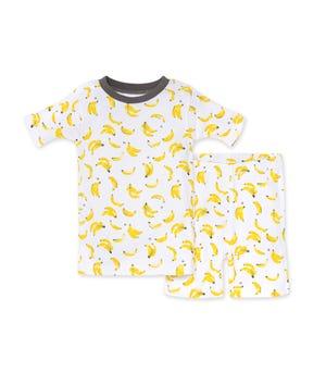Going Bananas Organic Baby Snug Fit Pajama Short Set Charcoal 12 Months