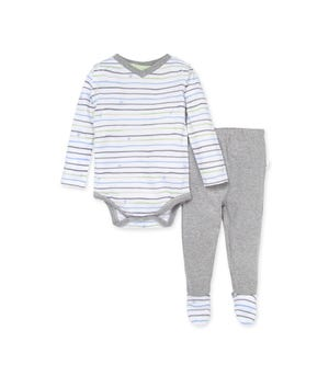 Watercolor Bee Stripe Organic Baby Bodysuit & Footed Pant Set