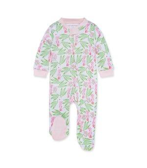 Island Cockatoo  Organic Baby Zip Front Loose Fit Footed Pajamas Dawn Newborn