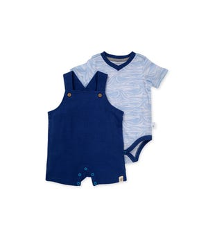 Dotted Jacquard Organic Baby Overall & Waves Bodysuit Set Macaw 0-3 Months