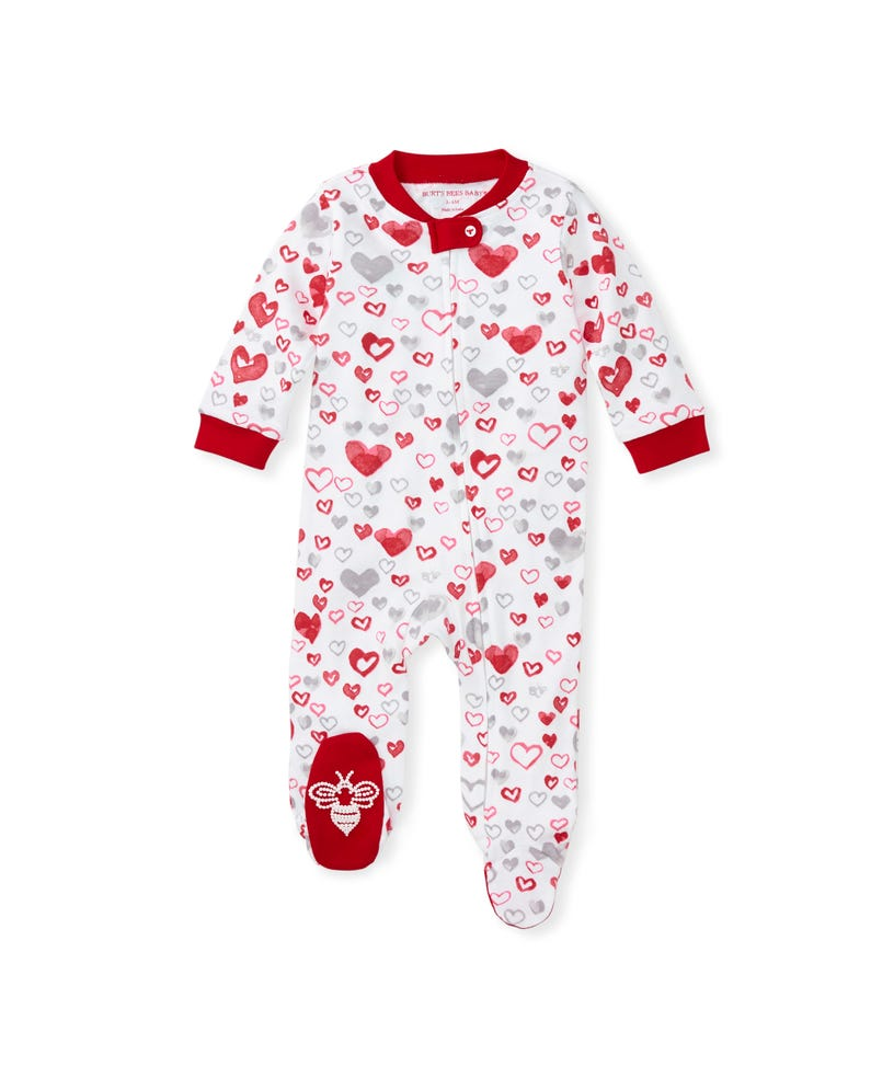 Love You Bunches Organic Baby Loose Fit Footed Valentine's Day Pajamas