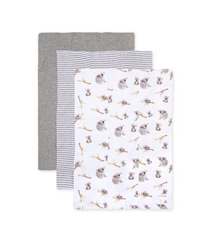 Extra Absorbent Organic Baby Burp Cloths Perfectly Koala-fied 3 Pack