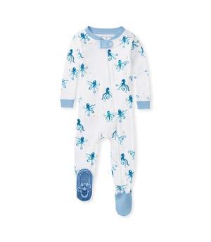 Tentacular Organic Baby Zip Front Snug Fit Octopus Footed Pajamas