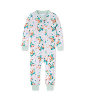 Butterfly Buddies Organic Baby Zip Front Snug Fit Footless Pajama Seaglass 12 Months