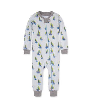 Smooth Sailing Organic Baby Zip Front Snug Fit Footless Pajama
