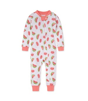 Watermelons Organic Baby Zip Front Snug Fit Footless Pajama Strawberry Lemonade 12 Months