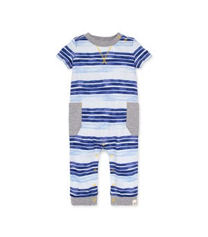 Oversized Painted Stripe Organic Baby Jumpsuit Macaw 12 Months
