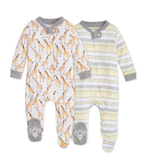 Giraffes Organic Baby Zip Front Loose Fit Footed Pajamas 2 Pack