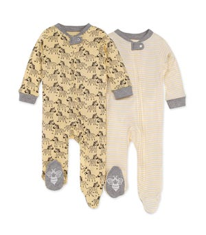 Zany Zebras Organic Baby Zip Front Loose Fit Footed Pajamas 2 Pack