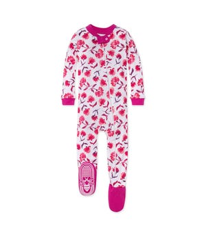 Spring Picks Organic Baby Zip Front Snug Fit Footed Pajamas