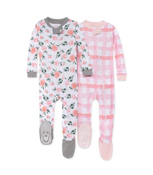Autumn Bloom Organic Baby Zip Front Snug Fit Footed Pajamas 2 Pack