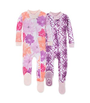 Watercolor Spring Organic Baby Zip Front Snug Fit Footed Pajamas 2 Pack