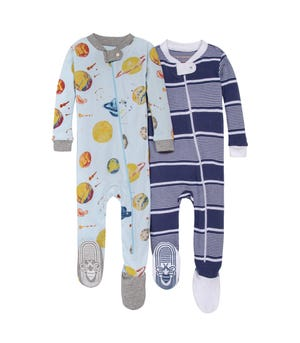 Little Planets Organic Baby Zip Front Snug Fit Footed Pajamas 2 Pack
