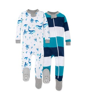Whale of a Tale Organic Baby Zip Front Snug Fit Footed Pajamas 2 Pack