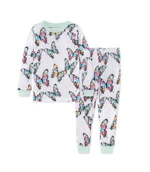 Cascading Butterflies Snug Fit Organic Baby Pajamas Seaglass 12 Months