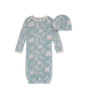 Succulent Skeleton Organic Baby Gown & Cap Set