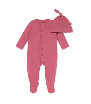 Pointelle Organic Baby Ruffle Jumpsuit & Knot Top Hat Set