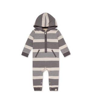 French Terry Jungle Stripe Organic Baby Hooded Jumpsuit