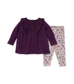 Crochet Organic Baby Tunic & Floral History Legging Set