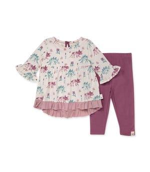 Girls Love Dinos Organic Baby Three-Quarter Sleeve Tunic & Legging Set