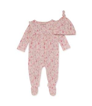 Hoot Hoot Organic Baby Jumpsuit & Knot Top Hat Set