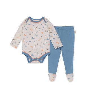 Reptile Tracks Organic Baby Bodysuit & Footed Pant Set